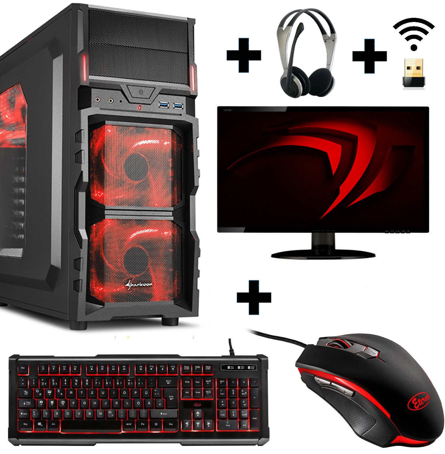 Gamer PC Komplett-Set A10 9700 4x 3,8 Ghz Radeon R7 8GB 1TB Gaming Win10 65 Watt